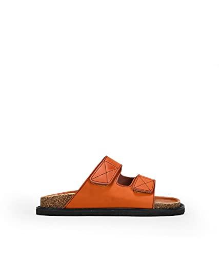BOSANOVA Sandalias Naranjas Planas Total Look con Velcro Naranja 37
