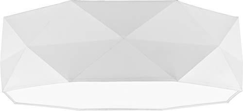 Deckenlampe Lampe 52 cm Deckenleuchte 4 x E27 Schlafzimmer weiß schwarz grau Deckenleuchte für Wohnzimmer, Flur, Esszimmer, Schlazimmer 230V Leuchtmittel Metall Stoff (Weiß 1565)