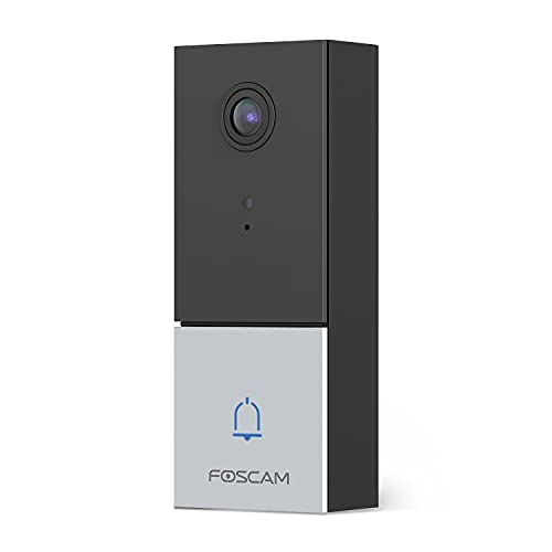 Foscam 2K/4MP Video Doorbell Camera DBW5, 2.4Ghz/5Ghz Wi-Fi Home Security Doorbell Camera, 2-Way Audio, Night Vision, IP65 Hardwired, Compatible with Existing Doorbell Chime