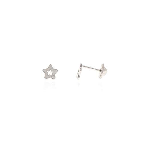 Pendiente Bebe/niña Estrella Oro 18kt 750 de Ley con Brillante 0,01ct (Blanco)