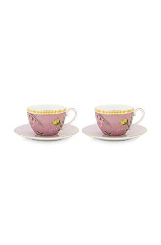 Pip Studio 2er Cappuccino Tassen mit Untertassen-Set La Majorelle | Pink - 280 ml