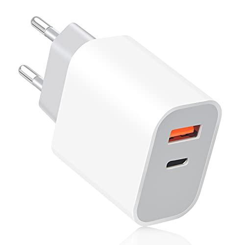 YOREPEK 20W Cargador USB C Rapido, Power Delivery 3.0 & Quick Charge 3.0, 2 Puertos Cargador Rapido de Pared Tipo C para iPhone 12/Mini/Pro Max/11/11 Pro/X/X MAX/XR, iPad, Samsung Galaxy, Blanco