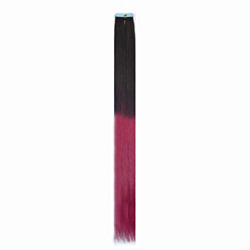 Sin rastro verdadera pieza de extensión de cabello color de peluca adhesivo de doble cara color degradado, negro rosa rojo ZPU-07