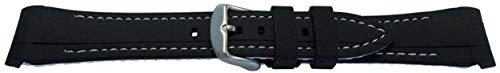 Uhrenarmband aus Kautschuk von W & CP für Rolex GMT Oyster & Omega SeaMaster Schwarz/Weiß Genäht 20 mm