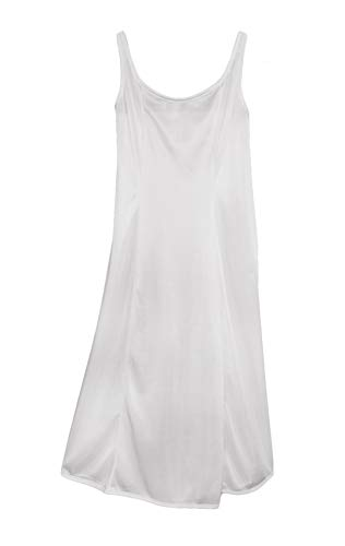 Little Things Mean A Lot Girls White Simple Princess Style Tea Length Nylon Slip with Adjustable Straps - 6