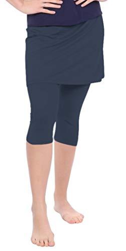 Kosher Casual Women's Skirted Capri Leggings for Exercise & Swim Large Navy