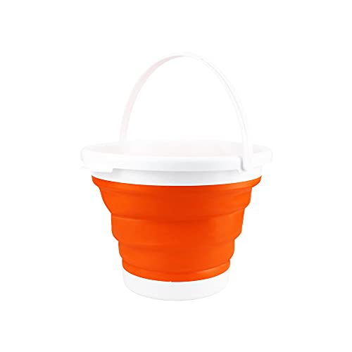 (エーアンドアイ)折りたたみバケツ おしゃれ シリコン ソフト コンパクト 最大 5L アウトドア 洗車 洗濯 お風呂 SG(1つ オレンジ)