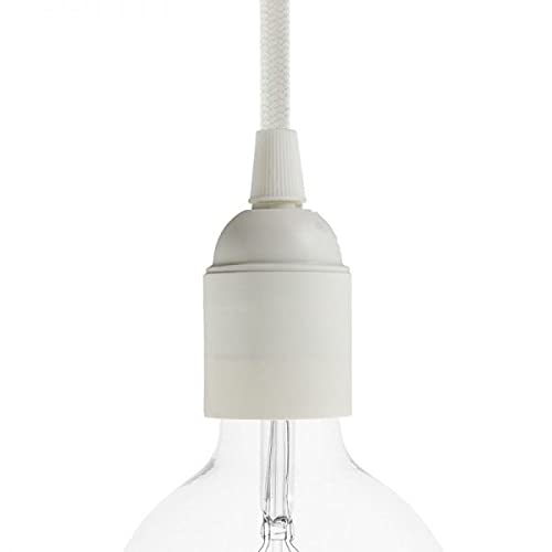 Portalampada in Plastica - Attacco E27 - Camicia Liscia. Confezione 6 Pezzi; Colore Bianco
