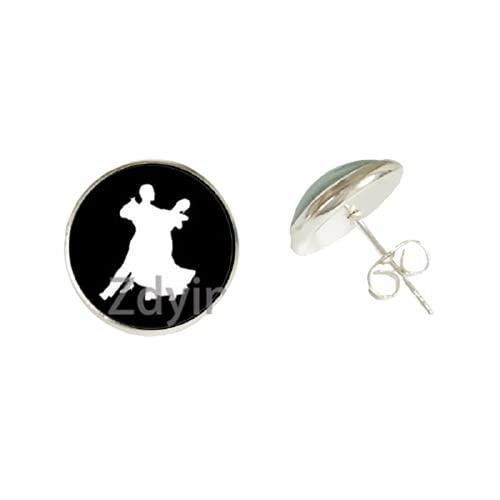 Pendientes de ballet, bailarina, diseño de silueta, color negro, blanco, cristal, cabujón, fiesta, joyería