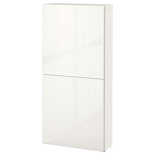 IKEA BESTÅ Armario de pared con 2 puertas 60x20x128 cm blanco/Selsviken alto brillo/blanco