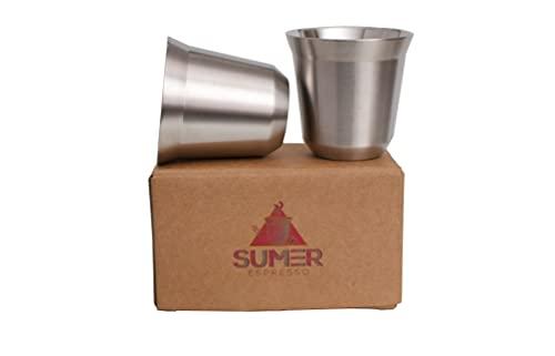 SUMER Espresso Tassen aus Edelstahl 2er Set 80mL, Espressotassen/ Shotgläser, wärmeisolierte doppelwandige Trinkbecher, auch geeignet als Chai-und Mokkatassen