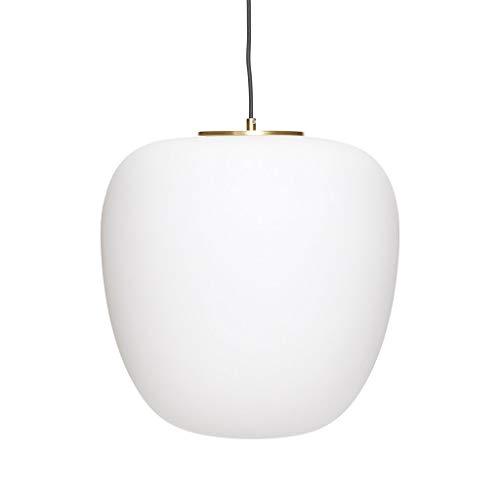 HÜBSCH - Suspension design scandinave ovale verre blanc métal laiton Hübsch