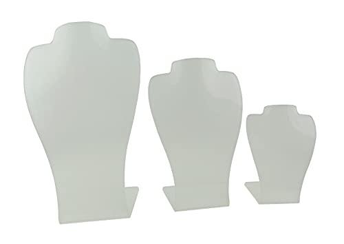 Acrílico 3 Parte 2 Muesca Collar Pendiente Exhibición Busto Stand Contador Presentación (Blanco Escarchado)