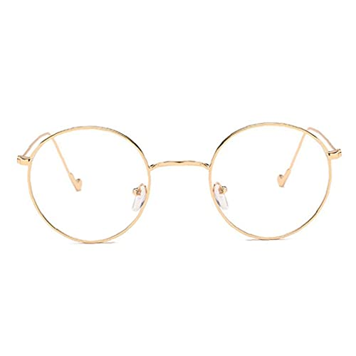 Odoukey Marco Redondo Vasos Transparentes de Lente del Metal Retro Gafas Gafas Decorativo Regalos para Mujeres de Oro