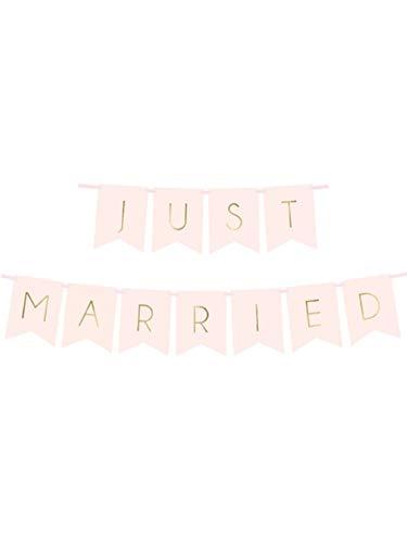 PartyDeco Just Married bruiloft slinger banner roze wit goud, kleur: roze