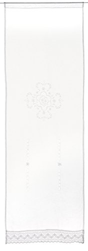 Home Fashion 023/715 – 0105 180 x 0060 cm Puerta Adornos Estructura de Lino Bordado, plástico, Color Blanco, 180 x 60 cm