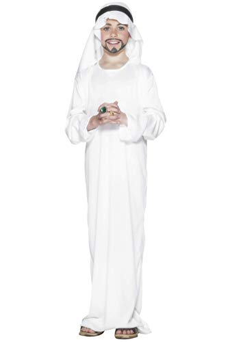 Smiffys-21792M Disfraz árabe, con túnica y Adorno para la Cabeza, Color Blanco, M-Edad 7-9 años (Smiffy