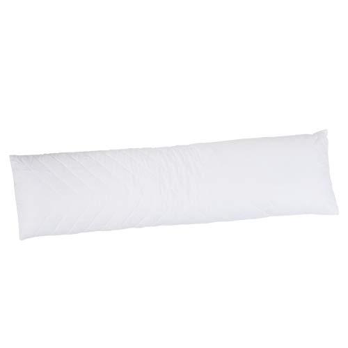 Vendôme Dreamtime MIRAM kussen voor zijslapers - steunkussen met hoes van 100% katoen (afneembaar en wasbaar) - zwangerschapskussen voor slapen - 145 x 40 cm - wit