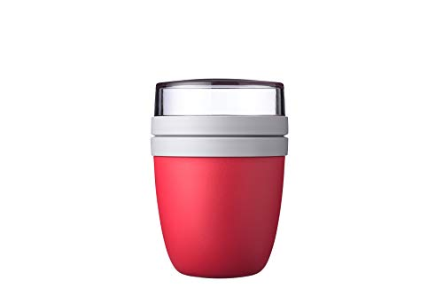 Mepal Lunchpot Ellipse Nordic red – 500 ml praktischer Müslibecher, Joghurtbecher, To go Becher – Geeignet für Tiefkühler, Mikrowelle und Spülmaschine, Polypropyleen (PP), PCTG, One Size
