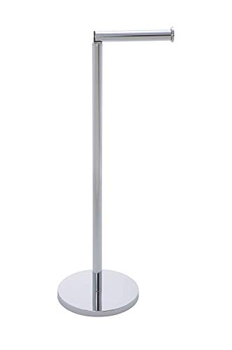 WENKO Stand Toilettenpapierhalter 2 in 1 Glänzend Edelstahl - mit Toilettenpapier Ersatzrollenhalter, platzsparend, Edelstahl rostfrei, 21 x 55 x 17 cm, Glänzend