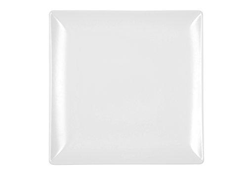 H&H Boston - Juego de 6 platos llanos, de cerámica, color blanco, cuadrado, 24 x 24 cm