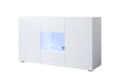 muebles bonitos Sideboard Luke Modell A2 (120x70cm) anhängend weiß mit Standard-Füsse