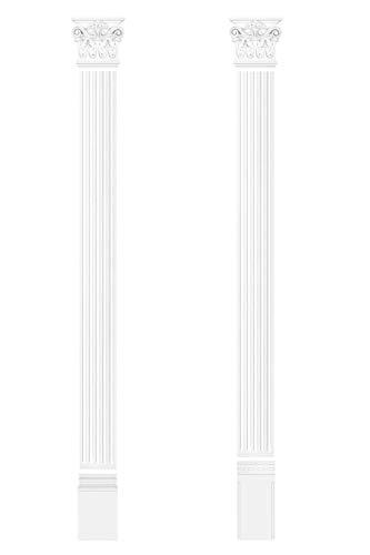 HEXIM Pilaster ca. 130x15mm - Wandreliefe/Stuckdekor aus PU Hartschaum, Auswahl von Schaft, Kapitell & Sockel - Perfect D3026 (Kapitell D3026)