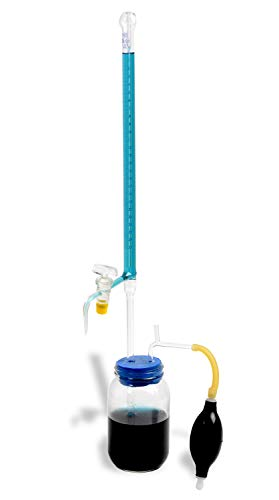 American Educational Borosilicate Glass 25mL Automatic Burette, with Ground Glass Stopcock and Clear Storage Container
