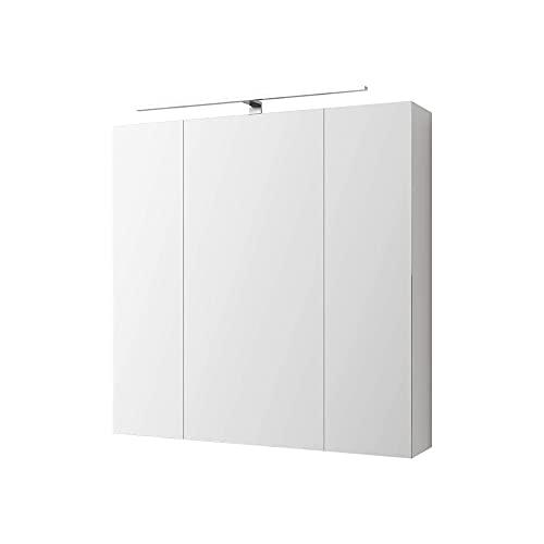 ML-Design Armario con Espejo de Baño con Iluminación LED 72,4x72x15 cm Blanco Mueble Colgante de Pared con Interruptor de Luz 3 Puertas y 6 Estantes de Cristal Ajustables en Altura Mobiliario de Aseo