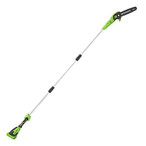 Greenworks de 40 V 20 cm Sierra de Poste, Velocidad de Cadena de 9,8 m/s, Longitud Hasta 2,8 m (sin Batería ni Cargador)