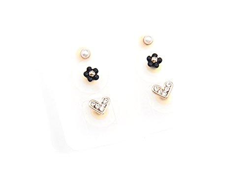 PBO10 – Placa de 3 pares de pendientes de perlas, flores y...