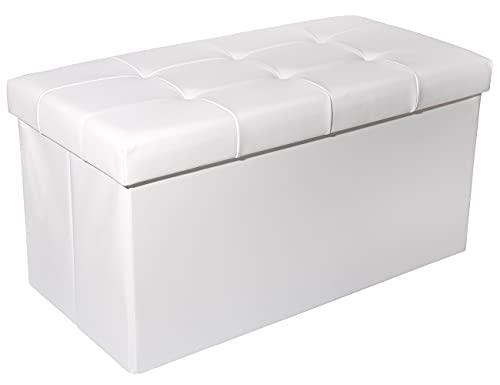 Zedelmaier Sitzhocker Sitzbank faltbar mit Stauraum belastbar bis 300 kg 76 x 38 x 38 cm(Weiß)