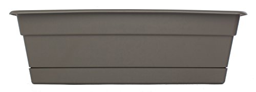 Bloem DCBT24-60 Dura Cotta Plant Window Box, 24-Inch, Peppercorn, Grey