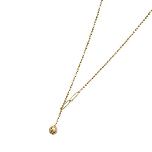 Yixikejiyouxian Collar de Mujer, Borla de Verano con Costura, Colgante de Bola pequeña, Collar de Mujer, gargantillas geométricas de Varios Elementos, Collares, joyería de Mujer, Oro 40 cm + 5 cm