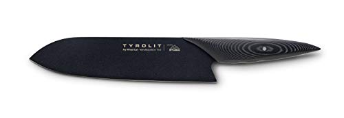 Tyrolit Fly Wheel Cut Kochmesser, 20cm extrem scharfe Klinge, Profi Messer mit Lederhülle, Küchenmesser für Fisch, Fleisch Obst und Gemüse, Edelstahl Allzweckmesser, Schwarz