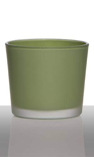 INNA-Glas Lantern ALENA, cylinder/round, grass green matt, 3.5'/9cm, Ø4/10cm - Glass Votive holder/Tea Light Holder