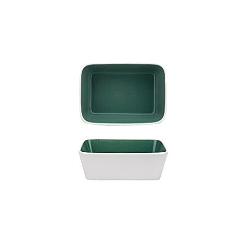 Kitchen Fuente de horno Juego de artículos para hornear, plato de caza de cerámica, plato de cazuela rectangular para cocinar, cena de pastel, banquete y uso diario, sartén conjunto de 2 piezas fuente