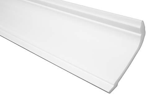 Sierlijst E-37 | licht en stabiel | geëxtrudeerd piepschuim | stucprofiel | plafond- en wandovergang | modern wit | decoratief | XPS | 115 x 75 mm | 2 meter