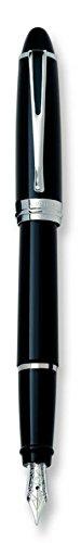 Aurora Ipsilon Deluxe–Pluma estilográfica azul w/cromado trim- punta fina