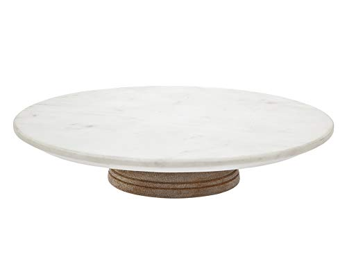 Godinger Revolving Cake Stand Plate for Decorating and Serving, Lazy Susan Wood Marble Rotating Platter