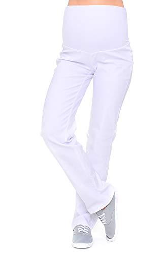 Mija - Klassische Komfortable Schwangerschaftshose Denim Umstandsjeans mit Bauchband 3014 (40, Weiß)
