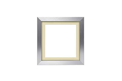 3D Deep Box Frame Range Bilder/Foto/Posterrahmen mit maßgeschneiderter Halterung – mit einer MDF-Rückwand – Silberner Rahmen mit elfenbeinfarbener Halterung – 30,5 x 25,4 cm für 25,4 x 25,4 cm Bilder
