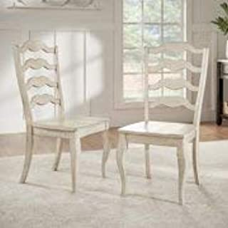 Traditional Finish Beautiful Sturdy Tough Durable Easy Care and Pair with Cushions Or As is French Ladder Back (Set of 2) - Comfy Dining,Entertaining Has Never Been This Unique and Easy Antique White