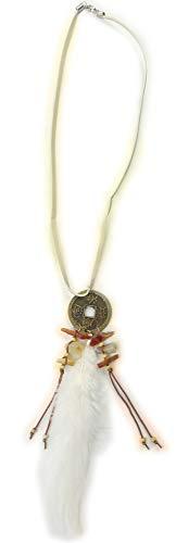 Collier Chaîne di1610 déguisement indien kostuem Bijoux Parure de plumes Halloween Necklace (White)
