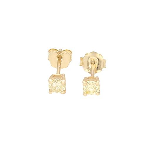 Pendientes de tuerca de oro amarillo de 9 quilates con diamantes de 0,25 quilates (cabeza de 3 mm) | El regalo perfecto para una dama especial | Jollys Jewellers