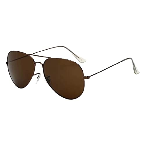 GYYOU Gafas de aviador polarizadas clásicas para hombre y mujer, cristal de cristal, protección UV 100%, montura ligera ms3025, C12 Tea Frame Teechips,
