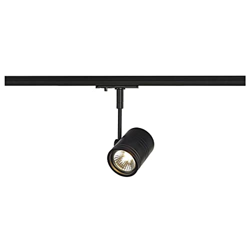 SLV 1-Phasen-Strahler BIMA I   Dreh- und schwenkbar, LED Spot, Deckenleuchte, Schienen-System, Schienenstrahler, Innenbeleuchtung, max. 50W 1P-Lampe   GU10 QPAR51, alu-schwarz