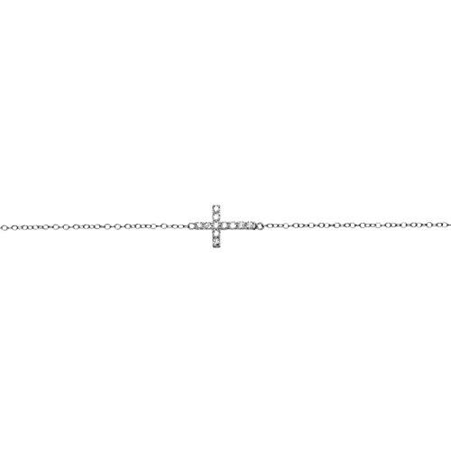 Pulsera Plata Cruz Horizontal con Circonitas