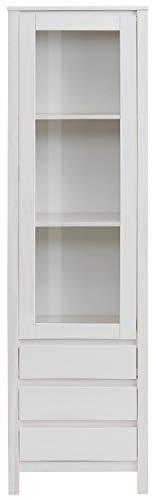 Loft 24 A/S Vitrine Landhaus Vitrinenschrank Standvitrine Glasvitrine Küche Glastür Kiefer Massivholz (weiß)
