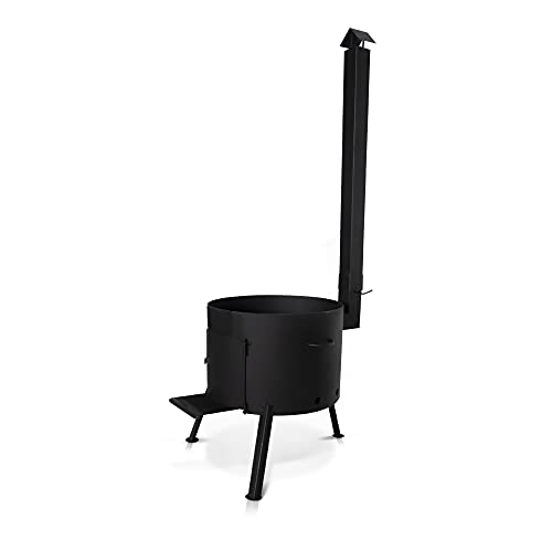 Ø 44 cm Utschak Uchag Feuerofen mit Abzugsrohr für usbekischen Kazan, Grillen Kessel Außenküche Feuerstelle Учаг казан, 22 L